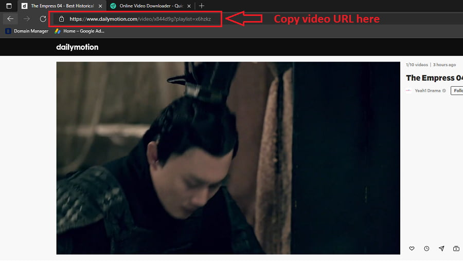 How to download Dailymotion videos - Step 1