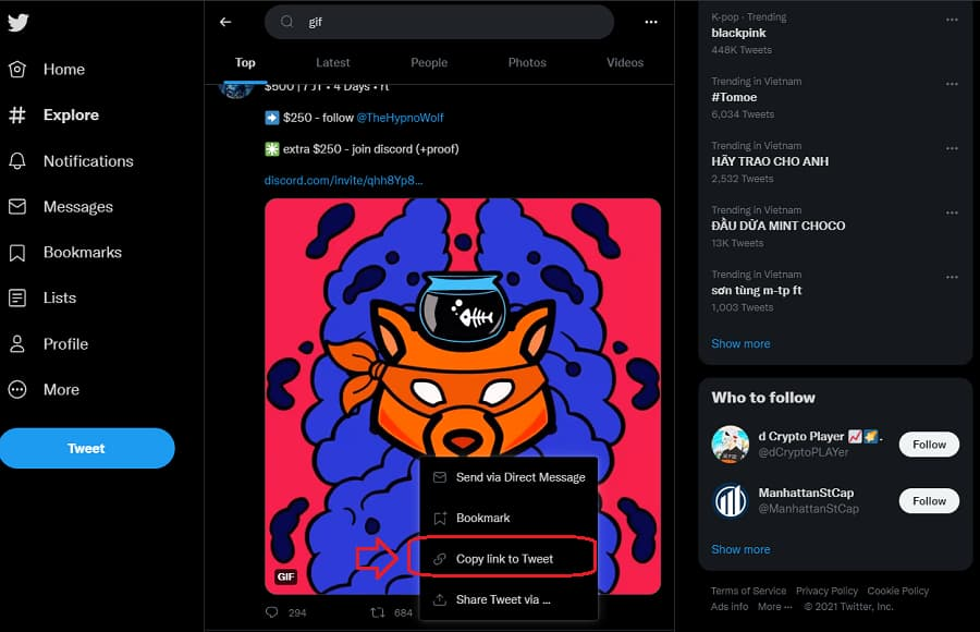 How to download Twitter video or gif Step 1